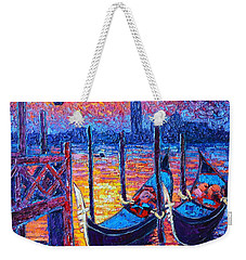 Venice Mysterious Light - Gondolas And San Giorgio Maggiore Seen From Plaza San Marco Weekender Tote Bag by Ana Maria Edulescu