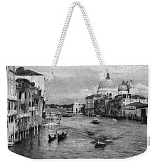 Vintage Venice Black And White Weekender Tote Bag