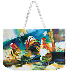 Weekender Tote Bag featuring the painting Veridian Chicken by Kathy Braud