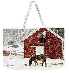 Vermont Christmas Eve Snowstorm Weekender Tote Bag by Edward Fielding