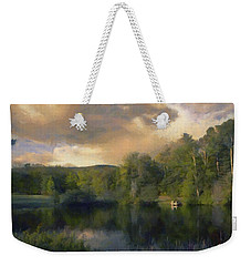 Weekender Tote Bag featuring the painting Vermont Morning Reflection by Jeff Kolker
