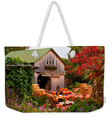 Vermont Pumpkins And Autumn Flowers Weekender Tote Bag by Jeff Folger
