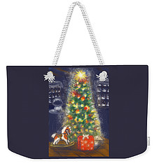 Weekender Tote Bag featuring the painting Veronicas Pony Rides Again by Jean Pacheco Ravinski