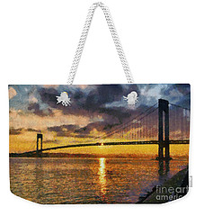 Verrazano Bridge During Sunset Weekender Tote Bag