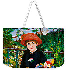 Weekender Tote Bag featuring the painting Version Of Renoir's Two Sisters On The Terrace by Cyril Maza
