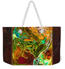 Weekender Tote Bag featuring the painting Vibrant Fall Colors An Abstract Painting by Omaste Witkowski