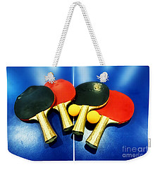 Vibrant Ping-pong Bats Table Tennis Paddles Rackets On Blue Weekender Tote Bag