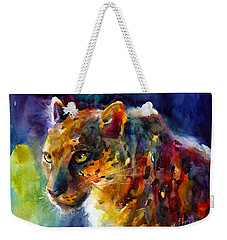 Vibrant Watercolor Leopard Wildlife Painting Weekender Tote Bag