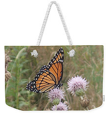 Weekender Tote Bag featuring the photograph Viceroy On Thistle by Robert Nickologianis