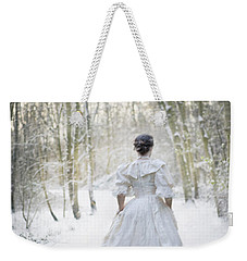 Victorian Woman Running Through A Winter Woodland With Fallen Sn Weekender Tote Bag