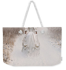 Victorian Woman Walking Through A Winter Meadow Weekender Tote Bag