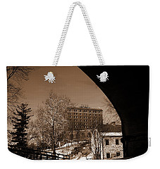 View Of Hotel Bethlehem From Colonial Industrial Quarter - Sepia Weekender Tote Bag