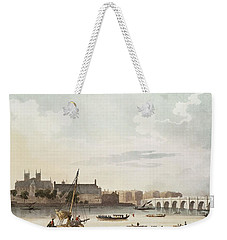 View Of Westminster And The Bridge Wc On Paper Weekender Tote Bag by English School