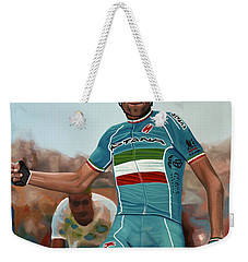 Vincenzo Nibali Painting Weekender Tote Bag by Paul Meijering