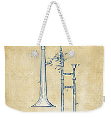 Vintage 1902 Slide Trombone Patent Artwork Weekender Tote Bag by Nikki Marie Smith