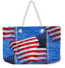 Weekender Tote Bag featuring the photograph Vintage Amercian Flag Abstract by Judy Palkimas