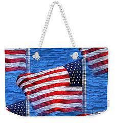 Vintage Amercian Flag Abstract Weekender Tote Bag