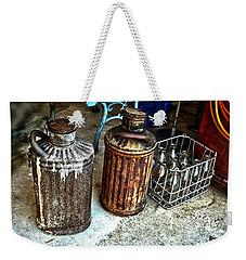 Weekender Tote Bag featuring the photograph Hdr Vintage Art  Cans And Bottles by Lesa Fine