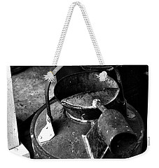 Weekender Tote Bag featuring the photograph Vintage B/w Galvanized Container by Lesa Fine