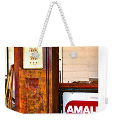 Weekender Tote Bag featuring the photograph Vintage Bassett Gas Pump   by Lesa Fine