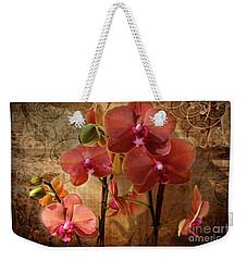 Vintage Burnt Orange Orchids Weekender Tote Bag