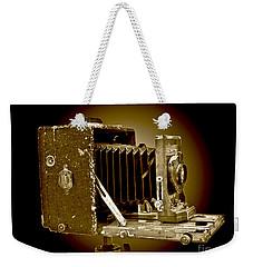 Vintage Camera In Sepia Tones Weekender Tote Bag by Carol F Austin