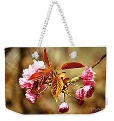 Weekender Tote Bag featuring the photograph Vintage Cherry Blossoms by Judy Palkimas