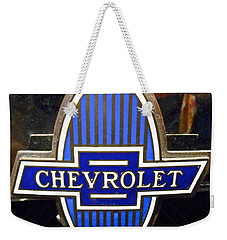 Weekender Tote Bag featuring the photograph Vintage Chevrolet Logo by Joan Reese