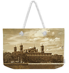 Weekender Tote Bag featuring the photograph Vintage Ellis Island by Eleanor Abramson