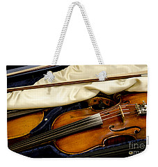 Vintage Fiddle In The Case Weekender Tote Bag by Wilma  Birdwell