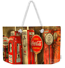 Vintage Gasoline Pumps With Coca Cola Sign Weekender Tote Bag
