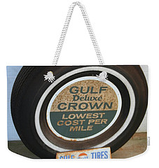 Weekender Tote Bag featuring the photograph Vintage Gulf Tire With Ad Plate by Lesa Fine