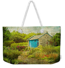 Vintage Inspired Garden Shed With Blue Door Weekender Tote Bag