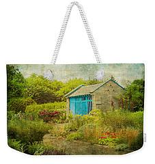 Vintage Inspired Garden Shed With Blue Door Weekender Tote Bag by Brooke T Ryan