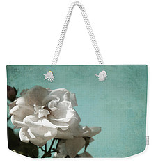 Weekender Tote Bag featuring the photograph Vintage Inspired White Roses On Aqua Blue Green - by Brooke T Ryan