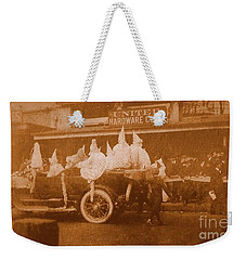 Weekender Tote Bag featuring the photograph New Orleans Vintage Mardi Gras Parade On Canal Street Circa 1920's by Michael Hoard