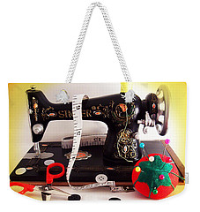 Weekender Tote Bag featuring the photograph Vintage Mini Sewing Machine by Shawna Rowe