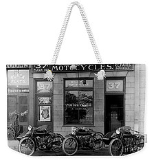 Vintage Motorcycle Dealership Weekender Tote Bag by Jon Neidert