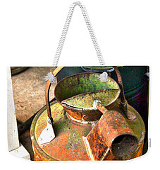 Weekender Tote Bag featuring the photograph Vintage Orange And Green Galvanized Containers by Lesa Fine