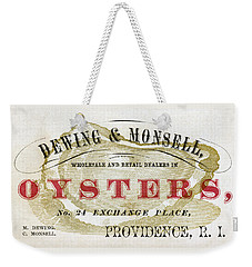 Vintage Oyster Dealers Trade Card Weekender Tote Bag
