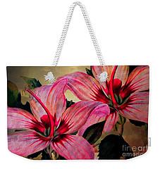 Vintage Painted Pink Lily Weekender Tote Bag by Judy Palkimas