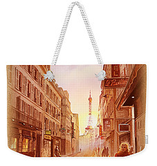 Weekender Tote Bag featuring the painting Vintage Paris Street Eiffel Tower View by Irina Sztukowski