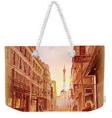 Vintage Paris Street Eiffel Tower View Weekender Tote Bag by Irina Sztukowski