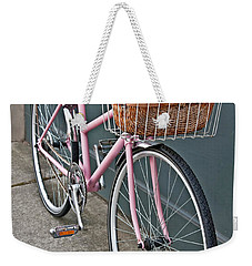 Vintage Pink Bicycle With Pink Flowers Art Prints Weekender Tote Bag