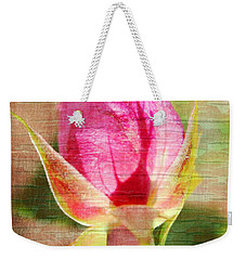 Weekender Tote Bag featuring the photograph Vintage Pink Rose Bud by Judy Palkimas