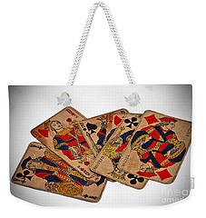 Weekender Tote Bag featuring the photograph Vintage Playing Cards Art Prints by Valerie Garner
