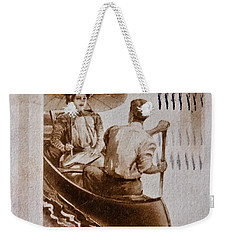 Vintage Post Card Of Couple In Boat Art Prints Weekender Tote Bag