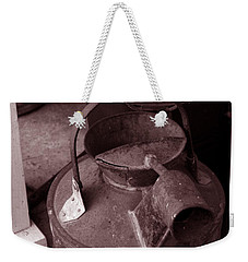 Weekender Tote Bag featuring the photograph Vintage Sepia Galvanized Container by Lesa Fine