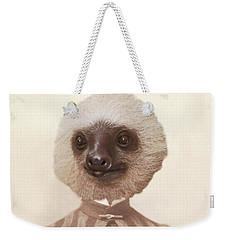 Vintage Sloth Girl Portrait Weekender Tote Bag by Brooke T Ryan