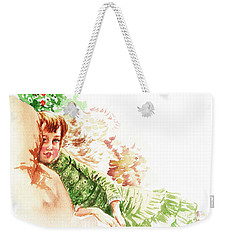 Weekender Tote Bag featuring the painting Vintage Study Lilian Of James Tissot by Irina Sztukowski
